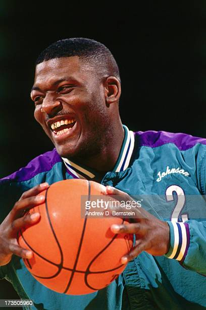 Larry Johnson of the Charlotte Hornets smiles before the 1992 Slam Dunk Contest at the Orlando Arena in Orlando Florida NOTE TO USER User expressly...