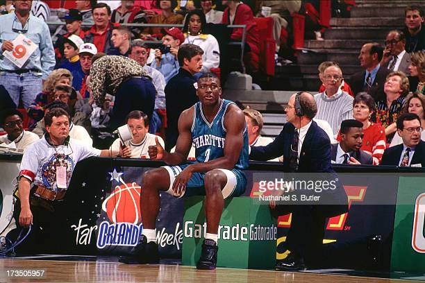 Larry Johnson of the Charlotte Hornets waits for his turn during the 1992 Slam Dunk Contest at the Orlando Arena in Orlando Florida NOTE TO USER User...