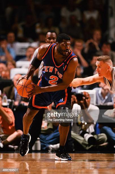 Larry Johnson of the New York Knicks during Game Two of the Eastern Conference Finals against the Indiana Pacers on June 1 1999 at Market Square...