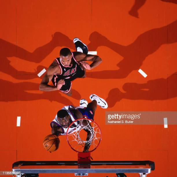 Larry Johnson of the New York Knicks shoots the ball against the Miami Heat on February 7 1999 at the Madison Square Garden in New York New York NOTE...