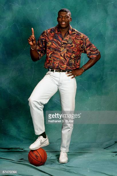 Larry Johnson poses for a portrait after being selected number one overall in the 1991 NBA Draft by the Charlotte Hornets on June 26 1991 in New York...