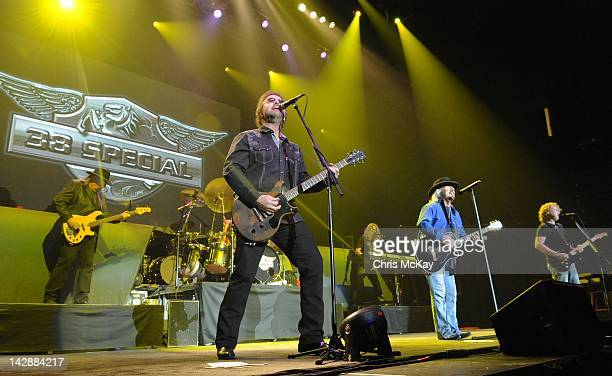 Larry Junstrom Garry Moffatt Don Barnes Bobby Capps Donnie Van Zant and Danny Chauncey of 38 Special perform at the Arena at Gwinnett Center on April...