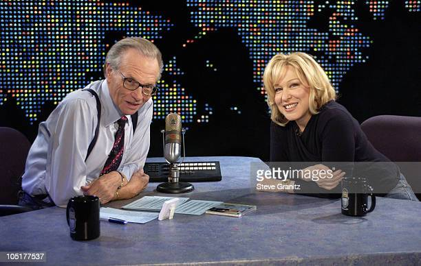 """Larry King and Bette Midler during Bette Midler on """"Larry King Live"""" at CNN Studios in Hollywood, CA, United States."""