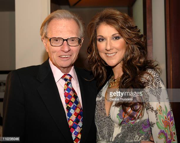 Larry King and Celine Dion during Celine Dion's A NEW DAY Raises Over A Million Dollars For UNICEF'S Tsunami Recovery Fund With a Special Mother's...