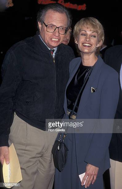 Larry King and Cyndy Garvey during World Premiere of Executive Decision at Mann's Village Theater in Westwood California United States