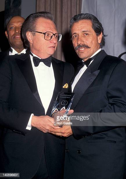 Larry King and Edward James Olmos at the 1996 Overcoming Obstacles Achievement Awards, New York Hilton Hotel, New York City.