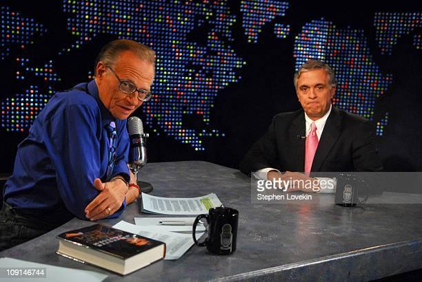 "Larry King and George Tenet 13419_0058.JPG during George Tenet Visits ""Larry King Live"" - April 30, 2007 at Larry King's CNN Studio in New York City,..."