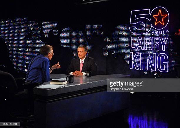 "Larry King and George Tenet 13419_0115.JPG during George Tenet Visits ""Larry King Live"" - April 30, 2007 at Larry King's CNN Studio in New York City,..."