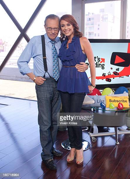 "Larry King and host Shira Lazar attend Larry King On ""What's Trending"" on August 24, 2012 in Los Angeles, California."