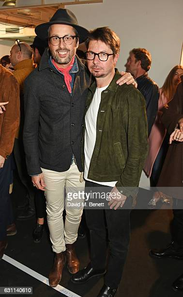 Larry King and Oliver Spencer attend the Oliver Spencer AW17 Catwalk Show during London Fashion Week Men's January 2017 at the BFC Show Space on...