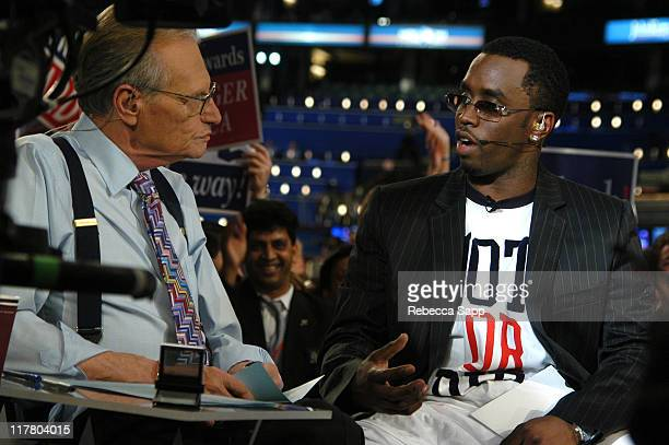 """Larry King and Sean """"P. Diddy"""" Combs during Sean """"P. Diddy"""" Combs on """"Larry King Live"""" at Fleet Center in Boston, Massachusetts, United States."""