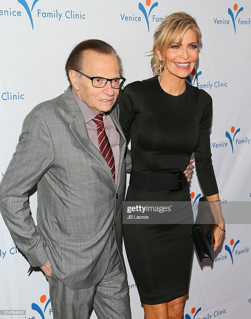 Larry King and Shawn King attend the Venice Family Clinic Silver Circle Gala 2016 Honoring Brett Ratner And Bill Flumenbaum at The Beverly Hilton Hotel on March 7, 2016 in Beverly Hills, California.