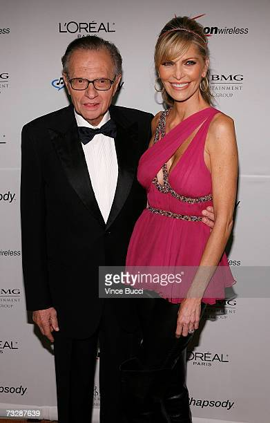 Larry King kisses wife Shawn SouthwickKing as they arrive at the Clive Davis preGrammy party held at the Beverly Hilton on February 10 2007 in...