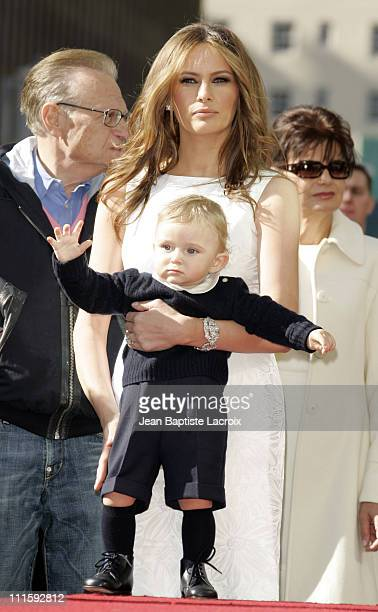 Larry King Melania Trump and baby Barron Trump during Donald Trump Honored with Hollywood Walk of Fame Star at Hollywood Boulevard in Hollywood...