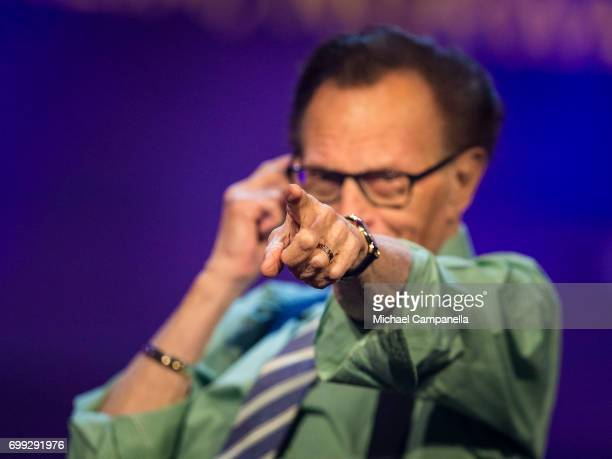 Larry King participates on a discussion on fake news in the media during the Starmus Festival on June 21 2017 in Trondheim Norway