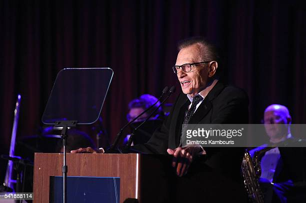 Larry King speaks as the Friars Club Honors Tony Bennett With The Entertainment Icon Award Inside at New York Sheraton Hotel Tower on June 20 2016 in...