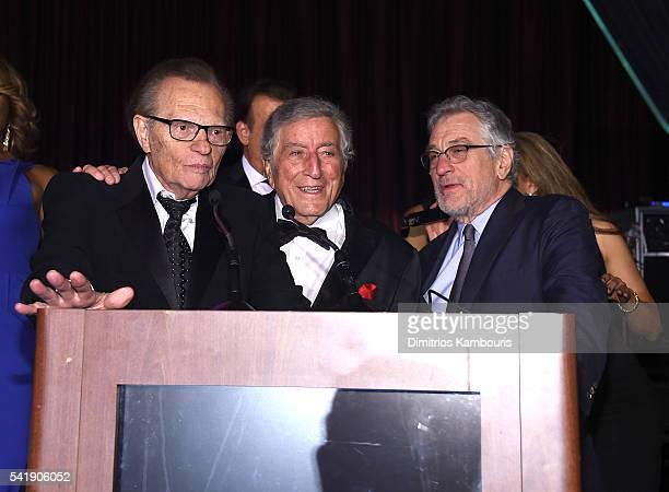 Larry King Tony Bennett and Robert De Niro speak as the Friars Club Honors Tony Bennett With The Entertainment Icon Award Inside at New York Sheraton...