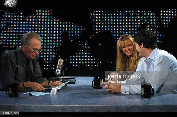 """Larry King, Trista Rehn and Ryan Sutter during """"Larry King Live"""" with Trista Rehn and Ryan Sutter at CNN Los Angeles in Hollywood, California, United..."""