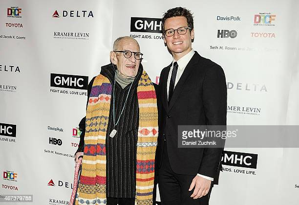 Larry Kramer and Jonathan Groff attend the 2015 Gay Men's Health Crisis Gala Honoring Larry Kramer at Cipriani 42nd Street on March 23 2015 in New...
