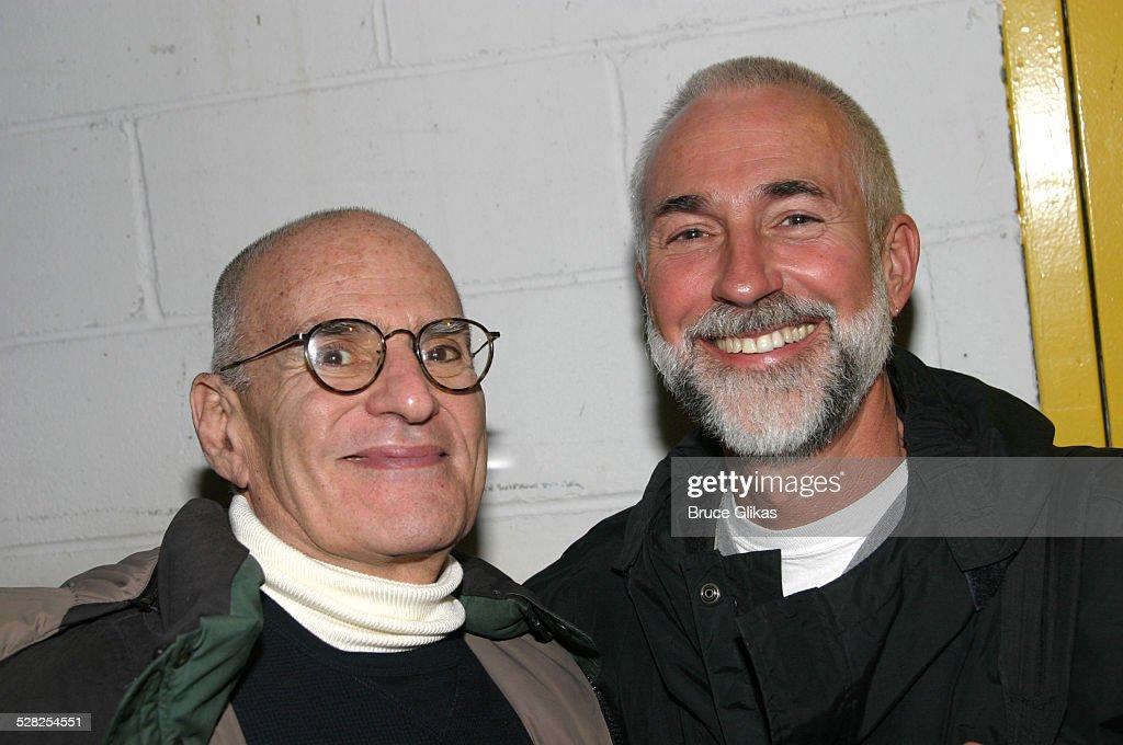 Playwright/Activist Larry Kramer Visits Avenue Q on Broadway - April 26, 2004 : News Photo