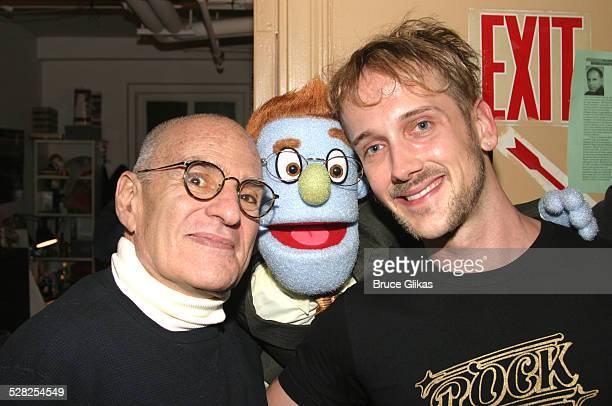 Larry Kramer Rod and Jeff Whitty during Playwright/Activist Larry Kramer Visits Avenue Q on Broadway April 26 2004 at The Golden Theater in New York...