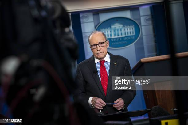 Larry Kudlow director of the US National Economic Council pauses during a television interview in the briefing room of the White House in Washington...