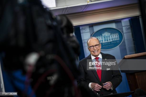 Larry Kudlow director of the US National Economic Council smiles during a television interview in the briefing room of the White House in Washington...