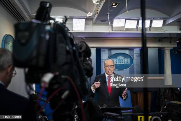 Larry Kudlow director of the US National Economic Council speaks during a television interview in the briefing room of the White House in Washington...
