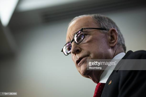 Larry Kudlow director of the US National Economic Council speaks during a news conference in the briefing room of the White House in Washington DC US...