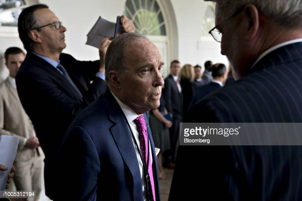 Larry Kudlow director of the US National Economic Council talks to Bill Shine White House communications director right before a joint statement with...