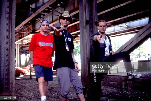 Larry LaLonde, Les Claypool and Tim Alexander of Primus on 8/20/91 in Chicago, Il.