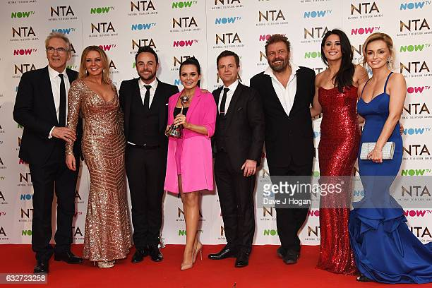 Larry Lamb Carol Vorderman Anthony McPartlin Scarlett Moffatt Declan Donnelly Martin Roberts Sam Quek and Ola Jordan pose in the winners room at the...
