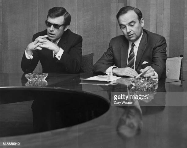 Larry Lamb the new editor of 'The Sun' at a press conference at the 'News of the World' offices with media magnate Rupert Murdoch owner of 'News of...