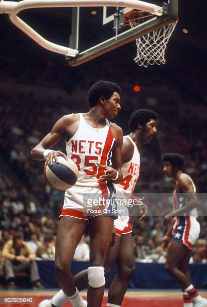 Larry Lenon of the New York Nets in action during an ABA basketball game circa 1973 at the Nassau Veterans Memorial Coliseum in Long Island New York...