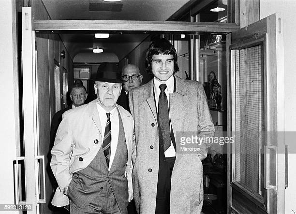 Larry Lloyd Liverpool centre half smiles as he leaves FA Headquarters at Lancaster Gate with manager Bill Shankly, after hearing good news from the...