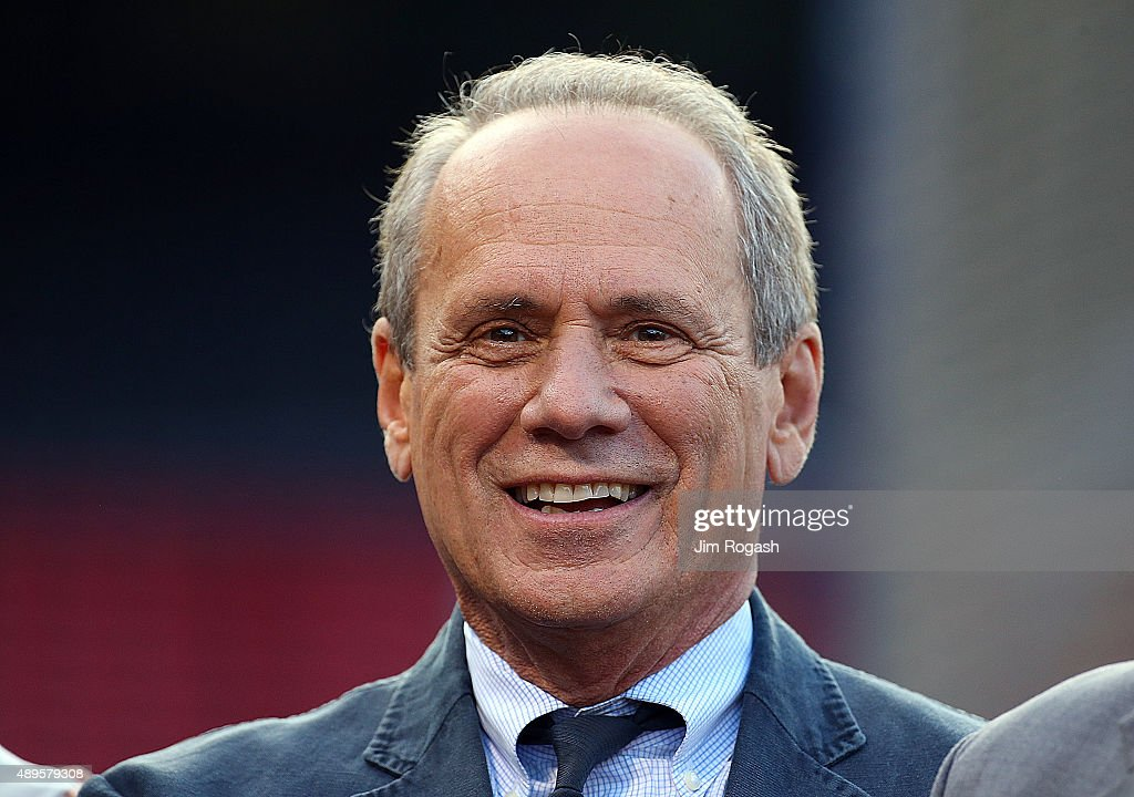 Larry Lucchino, former president of the Boston Red Sox, smiles as he poses for a photograph before a game with the Tampa Bay Rays at Fenway Park on September 22, 2015 in Boston, Massachusetts.