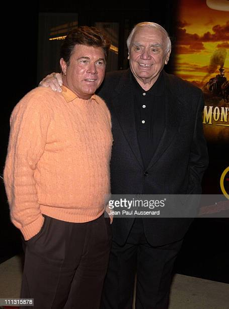 Larry Manetti and Ernest Borgnine during TNT's Monte Walsh Premiere Los Angeles at Warner Bros Studios in Burbank California United States