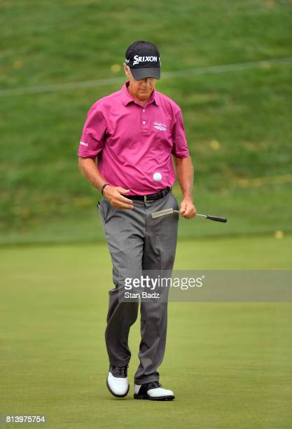 Larry Mize approaches the 16th green during the first round of the PGA TOUR Champions Constellation SENIOR PLAYERS Championship at Caves Valley Golf...