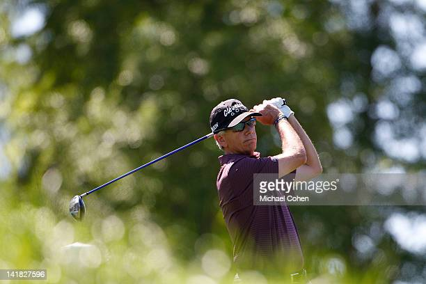 Larry Mize hits a drive during the second round of the Mississippi Gulf Resort Classic held at Fallen Oak Golf Club on March 24 2012 in Biloxi...