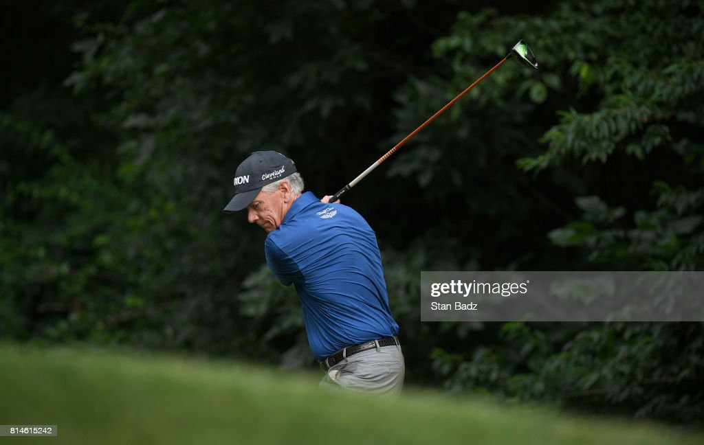 Larry Mize hits a drive on the second hole during the second round of the PGA TOUR Champions Constellation SENIOR PLAYERS Championship at Caves Valley Golf Club on July 14, 2017 in Baltimore, Maryland.