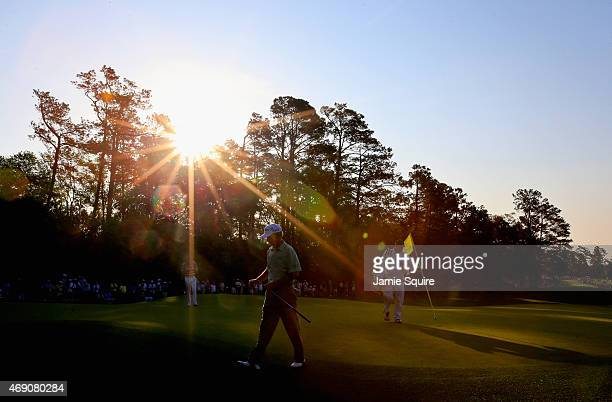Larry Mize of the United States on the first green during the first round of the 2015 Masters Tournament at Augusta National Golf Club on April 9...