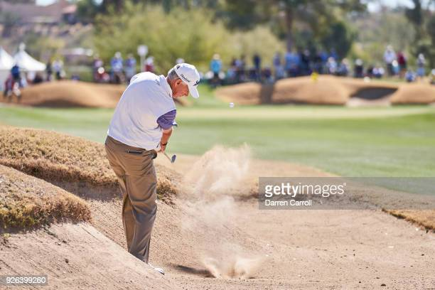 Larry Mize of the United States plays his second shot at the first hole during the first round of the 2018 Cologuard Classic at Omni Tucson National...