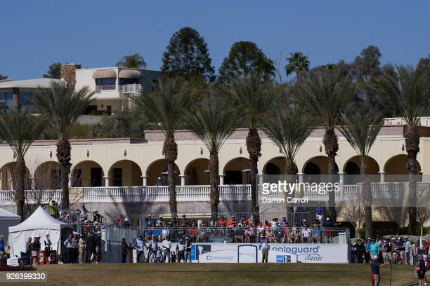 Larry Mize of the United States plays his tee shot at the first hole during the first round of the 2018 Cologuard Classic at Omni Tucson National...