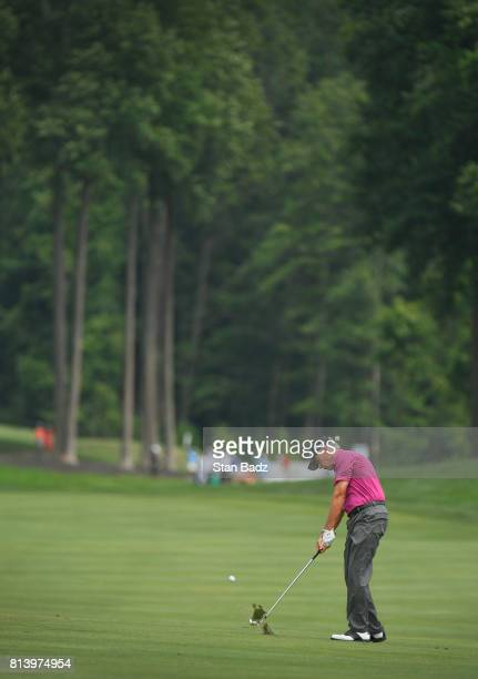 Larry Mize plays a shot on the 16th fairway during the first round of the PGA TOUR Champions Constellation SENIOR PLAYERS Championship at Caves...