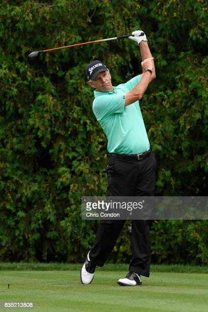 Larry Mize plays from the 18th tee during the first round of the PGA TOUR Champions DICK'S Sporting Goods Open at EnJoie Golf Course on August 18...