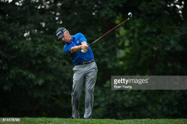 Larry Mize plays his shot from the fifth tee during the second round of the PGA TOUR Champions Constellation SENIOR PLAYERS Championship at Caves...