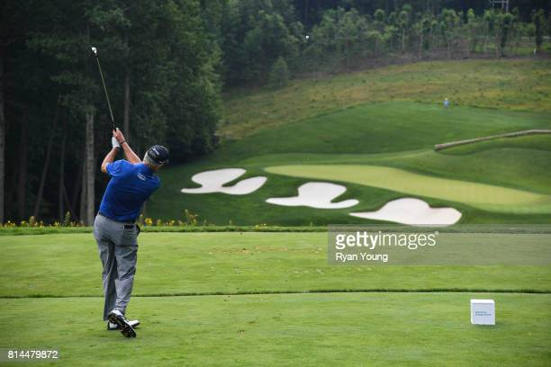 Larry Mize plays his shot from the third tee during the second round of the PGA TOUR Champions Constellation SENIOR PLAYERS Championship at Caves...