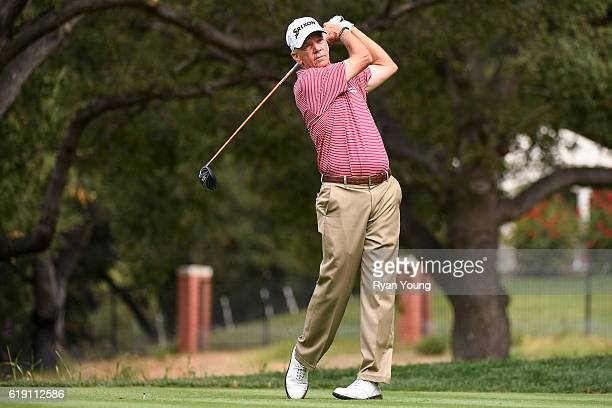 Larry Mize tees off on the sixth hole during the second round for the PGA TOUR Champions PowerShares QQQ Championship at Sherwood Country Club on...