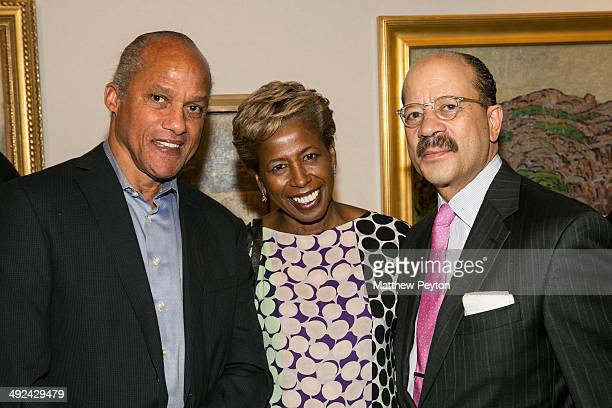 Larry Morse Sharon Bowen Charles Hamilton pose together at the announcement of City College Of New York City College Center For The Arts At Aaron...