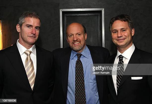 Larry Mullen Jim Cramer and Jason Binn attend Gotham Magazine's Eighth Annual Gala A Black White Affair at The Rainbow Room on February 12 2008 in...